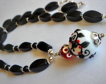 Lampwork Necklace, Floral Lampwork Bead Necklace,  Black Agate Necklace, Pendant Necklace