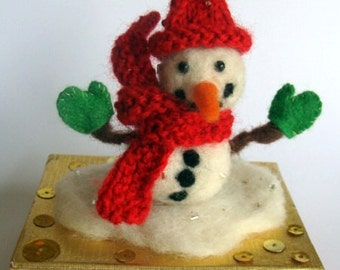 Needle Felted Snowman Decoration, Christmas Snowman, wool Snowman