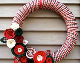 Holiday Wreath - Christmas Plaid Wreath - Christmas Felt Wreath - Holiday Felt Wreath - Christmas Wreath -Ribbon Wreath - Felt Flower Wreath