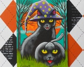 Black Cat Witch and Pumpkin Familiar Original Halloween ACEO Miniature Painting EHAG