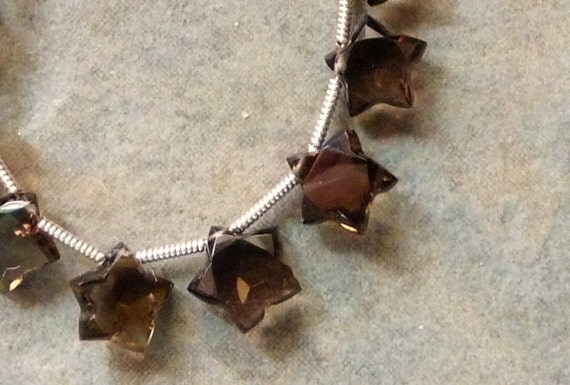 RESERVED - AAA Smoky Quartz Faceted Star Shaped Designer Briolettes - 8mm - 17 Beads