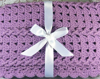 PDF Pattern Crocheted Baby Afghan, CAR SEAT Size and Newborn Size Blanket -- Lavender Twist