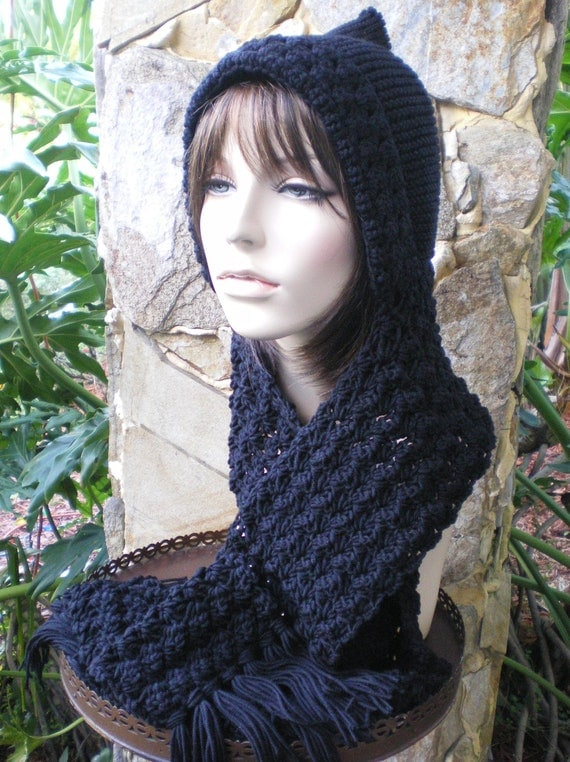 Knitting Pattern For Hat With Scarf Attached : hand knit hood scarf hat attached hand crochet scarf by annmag