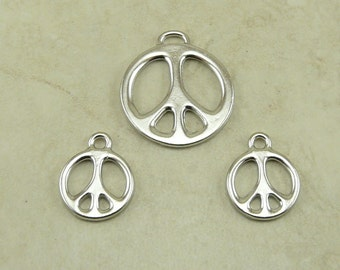 3 TierraCast Peace Sign Pendant & Charm Mix Pack > Love Hippy World Activist Rhodium Silver Plated Lead Free Pewter Ship Internationally a8