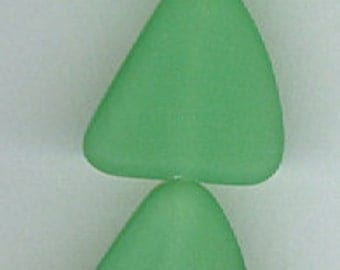 Set of 6 Spring Green Sea Glass Flat Free Form Nugget Beads Seaglass Freeform Bead