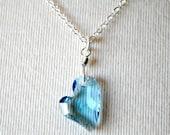 Blue Crystal Heart Necklace, Swarovski Crystal Heart Pendant, Sterling Silver, Devoted 2 U, Valentine Necklace, Heart jewelry, Under 30