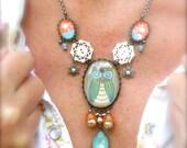 Retro Mod Blue Big Eyed Owl/ Dangle Drop Button Necklace