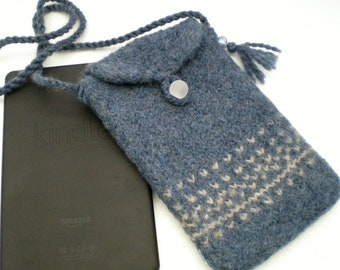 Kindle Fire, Nook, Kobo, iPad Mini eReader Case Carrier - Wool Felted - Made to Order - Blue Nordic