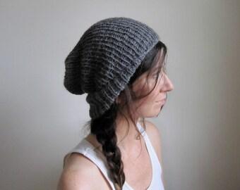 Hand Knit Alpaca Hat  -  Women's Cloche // Charcoal Gray // Men's Beanie // Slouchy Toque