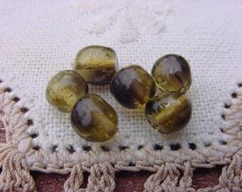 Smoky Mini Mink Lampwork Vintage Glass Beads