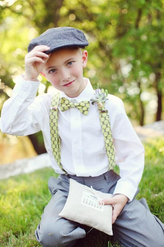 Boy S Bow Tie And Suspenders Polka Dot Ring Bearer Ties