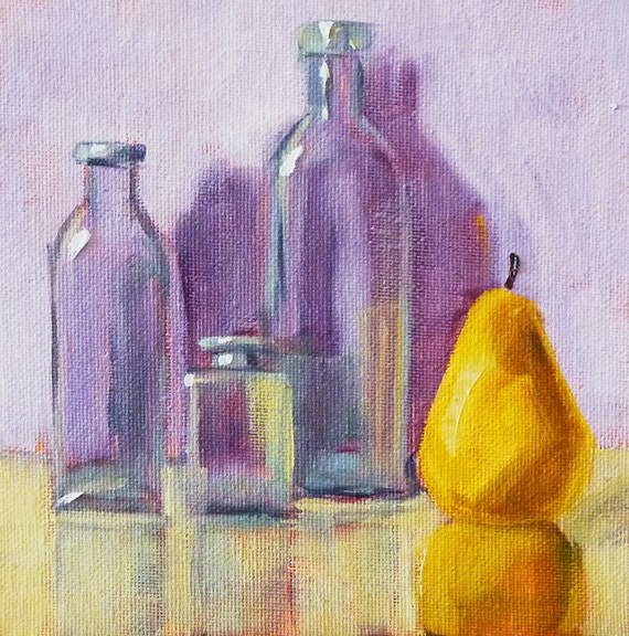 Original Still Life, Oil Painting, Bottles and Fruit, Pear, Small 6x6 on Canvas, Purple, Yellow, Kitchen Art, Kitchen Decor, Wall Decor