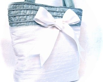 Recycled Turquoise and White Bow Abigail handbag purse