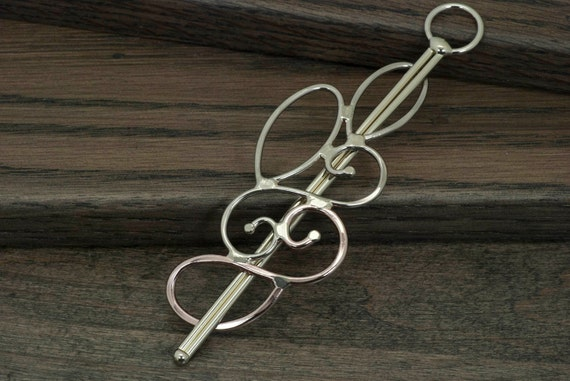 Metal hair barrette, slide, shawl scarf pin