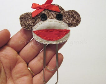 Sock Monkey Bookmark, Sock Monkey Paperclip Bookmark, Sock Monkey, Bookmark, Handmade Bookmark, Fabric Sock Monkey Bookmark MADE TO ORDER