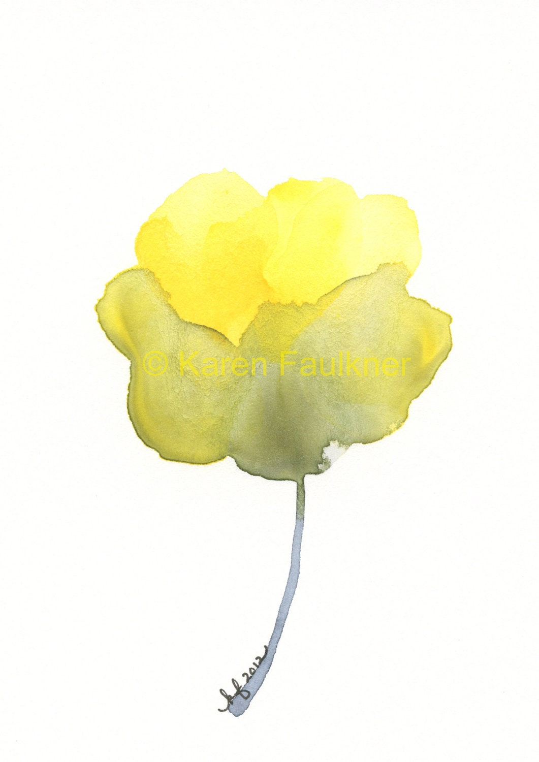 Watercolor Yellow And Grey Flower Print By
