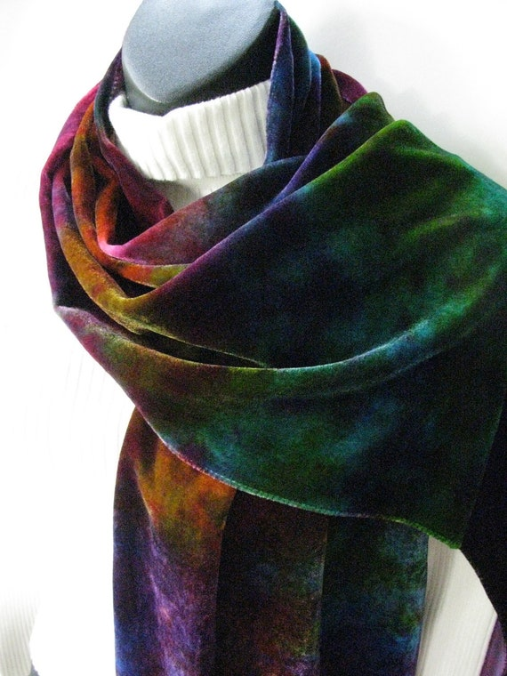 Northern Lights Hand Dyed Velvet Scarf Womens Fashion