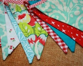 Bright Red and Aqua Bunting, Shabby Chic Theme Fabric Flag Banner.  Designer's Choice, Similar to As Shown, Ready to Ship.Red Gingham Trim.