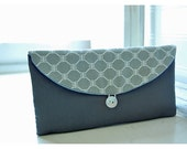 geometric gray grey Bridesmaids Clutch ivory clutch Bridal Wedding  bag Gift Giving Make Up Travel Gadget ,Gift Under 25