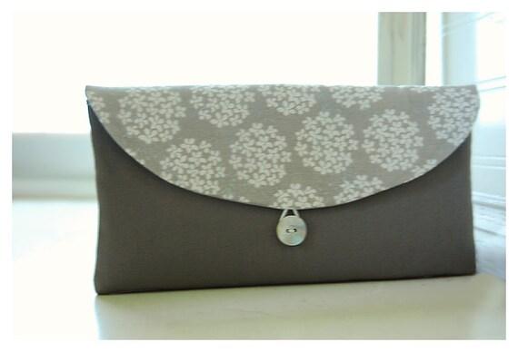 dandelion purse Bridesmaids Clutch grey gray Bridal Wedding  bag Gift Giving Make Up Travel Gadget ,Gift Under 25