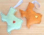 Heart of Texas Christmas Ornament: Pistachio/ Brick Floss & Heart