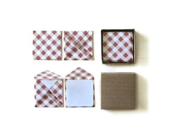 Brown Gingham Glassine - Mini Stationery Set