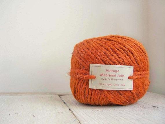 Vintage Rusty Orange Macrame Jute - 77 yds - 3 Ply - RESERVED