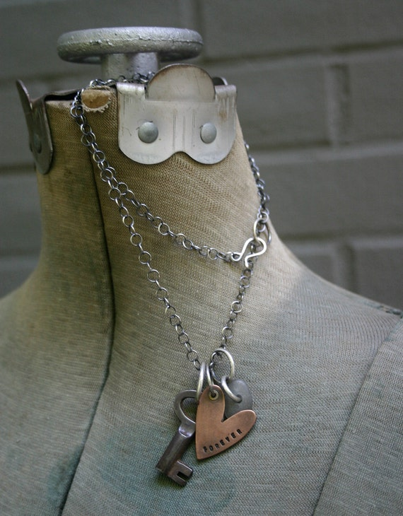 Charm Heart Necklace Silver Vintage Key Copper -  Forever Yours