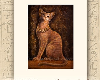 Cat Goddess Bast - Matted Art Print - 5x7inches matted to 8x10 inches - fine art giclee reproduction