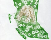 British Columbia, Dogwood flowers and Spirit Bear linocut - Lino Block Print Maps of Canadian Provinces & Territories with Symbols, BC bear