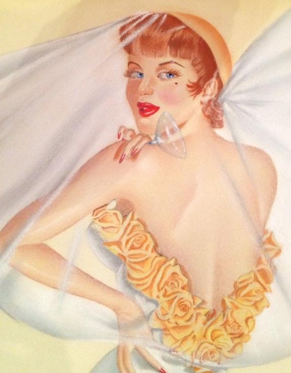DEMARTINI Original Midcentury 60s Pin-Up Vintage WEDDING NIGHT with Cupid Burlesque Painting Vargas Varga pinup Great Value Sale