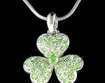 Irish Swarovski Crystal Saint Patrick's Day Lucky Three Leaf CLOVER SHAMROCK Pendant Charm Chain Necklace New Christmas Gift
