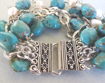 Turquoise Nuggets and Pearls Bracelet