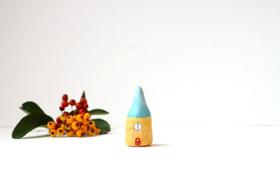 Little Home No 230 - Little autumn clay house - blue and light yellow