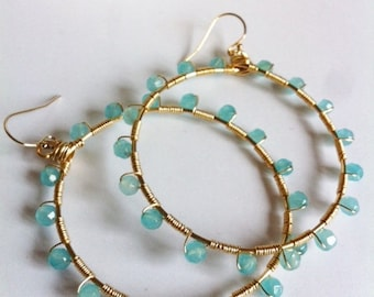 Aqua blue Swarovski crystal Sunburst hoop earrings