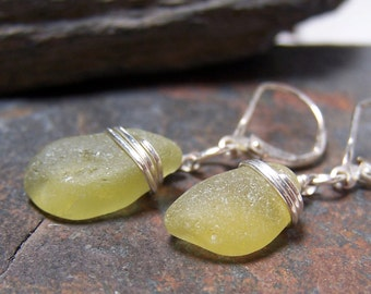 Citron Olives - Sea Glass STERLING Silver EARRINGS