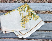 Vintage Linen Tablecloth - Australian Wattle