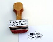 Made in Kansas, Rubber Stamp, Wood Handle Calligraphy Stamp, Made in Your State Stamp, Shop Packaging Supply