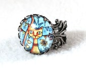 Cat Ring, Antique Silver Mexican Style Art Ring, Filigree Cocktail Ring Cat Jewelry, Original Art Print, Blue
