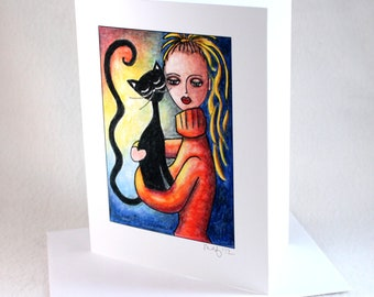 Blank Note Card, Black Cat Art Notecard, Blank Greeting Card, All Occasion Card, Original Girl Art Print, Woman Girl and Cat, Orange Blue