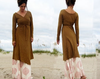 ORGANIC Flip Wrap Simplicity Below Knee Dress (light hemp/organic cotton knit) - organic dress