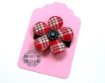 CHRISTMAS Red n Black Baby Bow/ Baby Snap Clips / Itty Bitty Clips / Infant Clips / Toddler Girls Bows / No Slip Hair Clip / Flower Clip