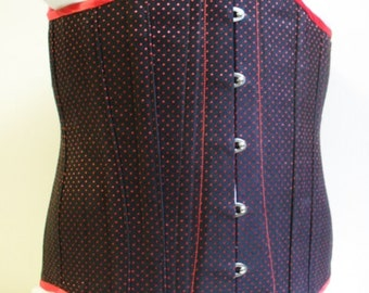 """Mens black and red spot coutil training corset with spoon busk, steel boned with a 29"""" waist"""