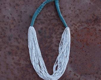 Kuchi Seed Bead Necklace, Eggshell