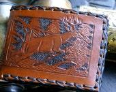 Men's Leather Wallet-Men's Bi-Fold Wallet-Tooled Deer Buck Leather Wallet-Men's Outdoorsman Tooled Wallet-Men's Leather Wallet- Men's Wallet