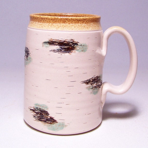 Birch Pottery Coffee Mug large Mega Limited Series 224 on white stoneware (microwave safe)