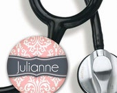 Stethoscope ID Tag Personalized with Your Name Grey and Pink Damask - Steth Tag