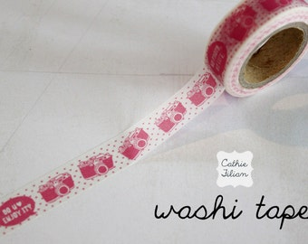 Washi Tape Pink Cameras - 10.5 yard roll Japanese Deco Tape
