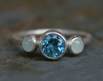 Blue Topaz & Aquamarine Ring, Sterling Silver, Gemstone, Faceted Swiss Blue Topaz, Aquamarine Cabochon, Jewel, Posey Ring