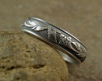 Art Nouveau Lilies Sterling Silver Wedding Ring, Romantic Wedding Band Silver Flower Ring, Simple Wedding Jewelry